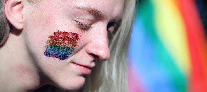 women with rainbow