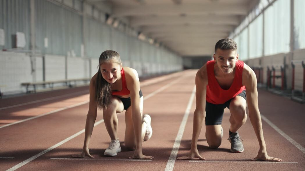 sportive man and woman