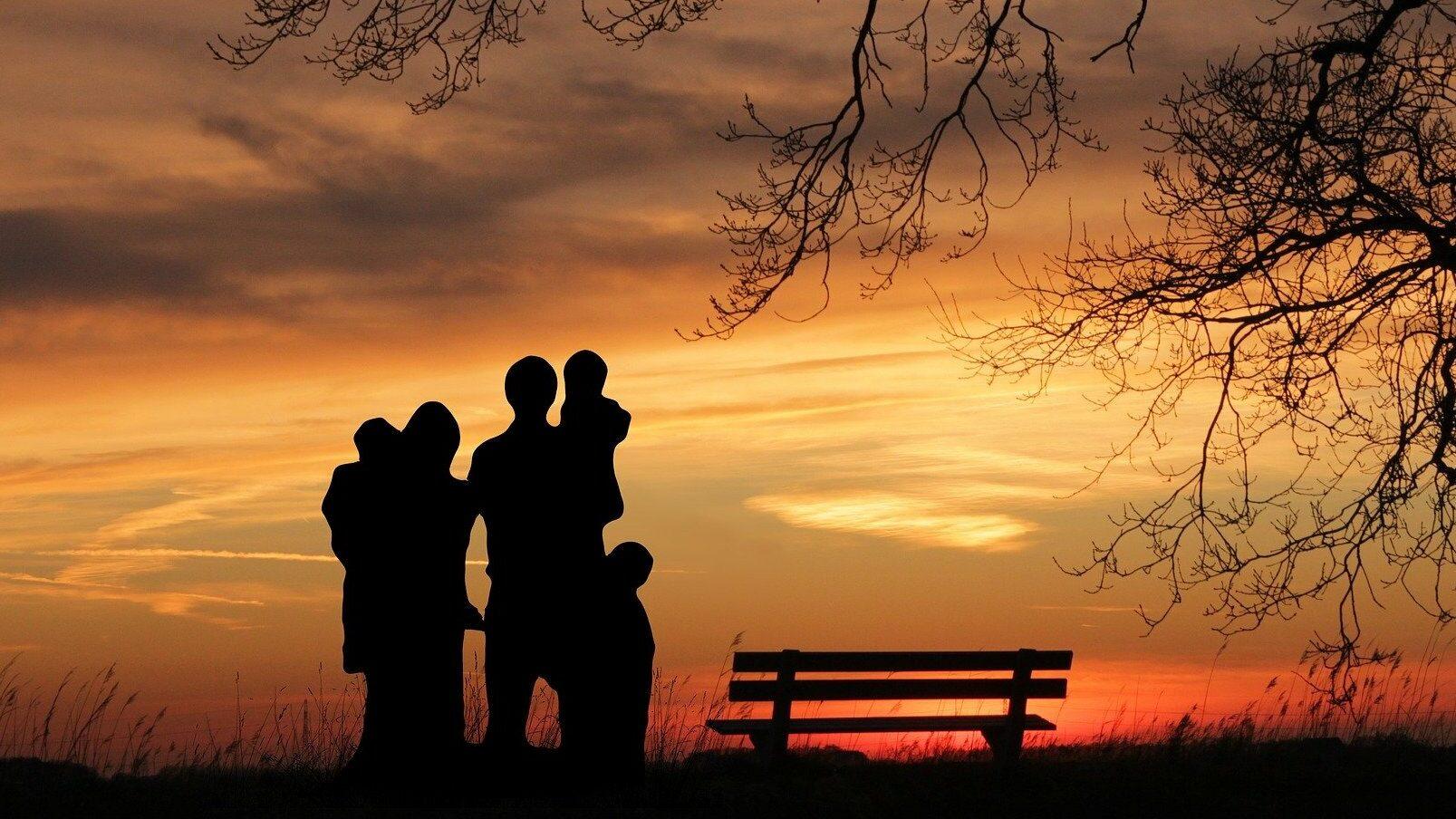 family under sunset