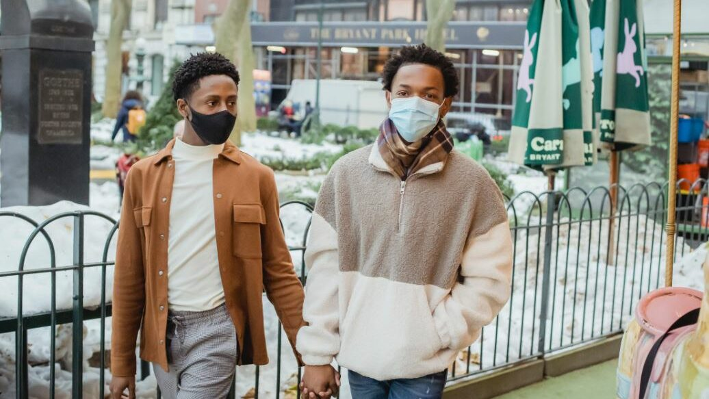 gay couple with mask